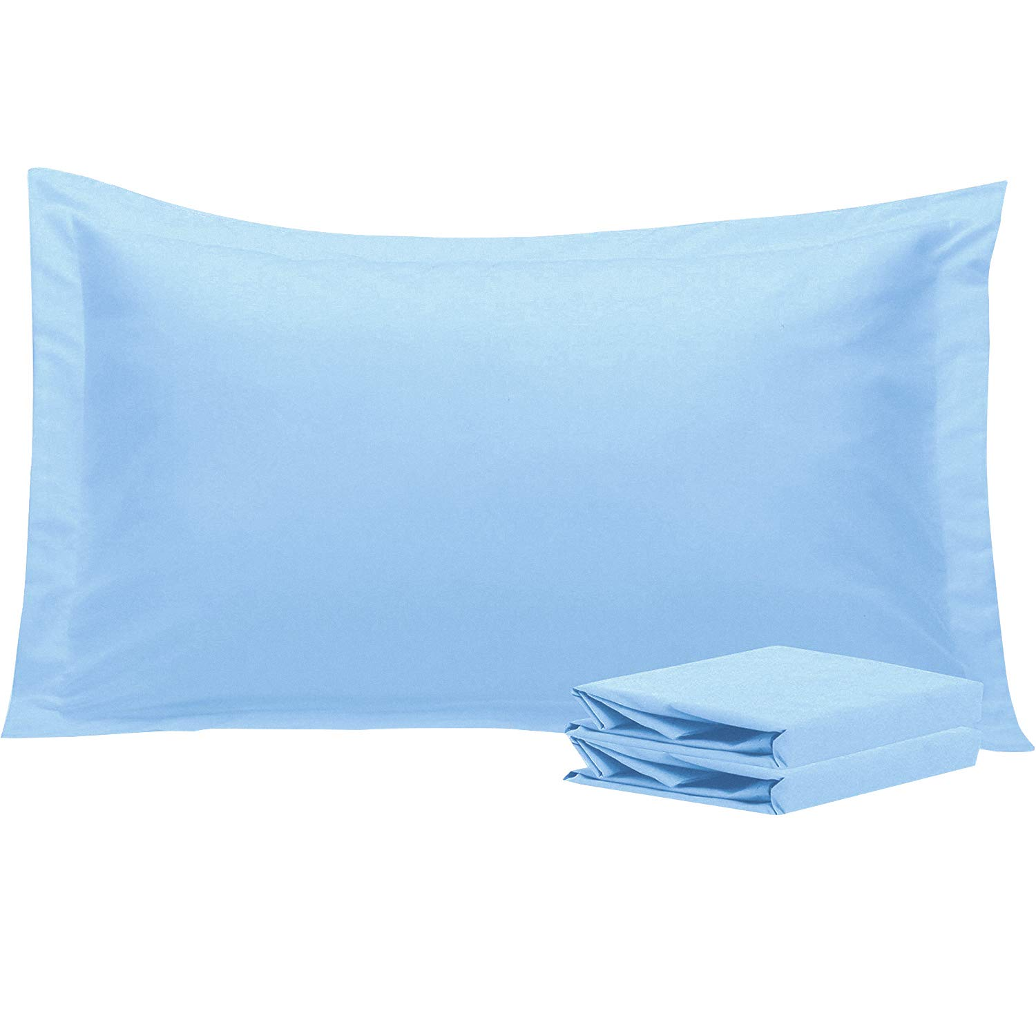 NTBAY King Pillow Shams, Set of 2, 100% Brushed Microfiber, Soft and Cozy, Wrinkle, Fade, Stain Resistant (Sky Blue, King)