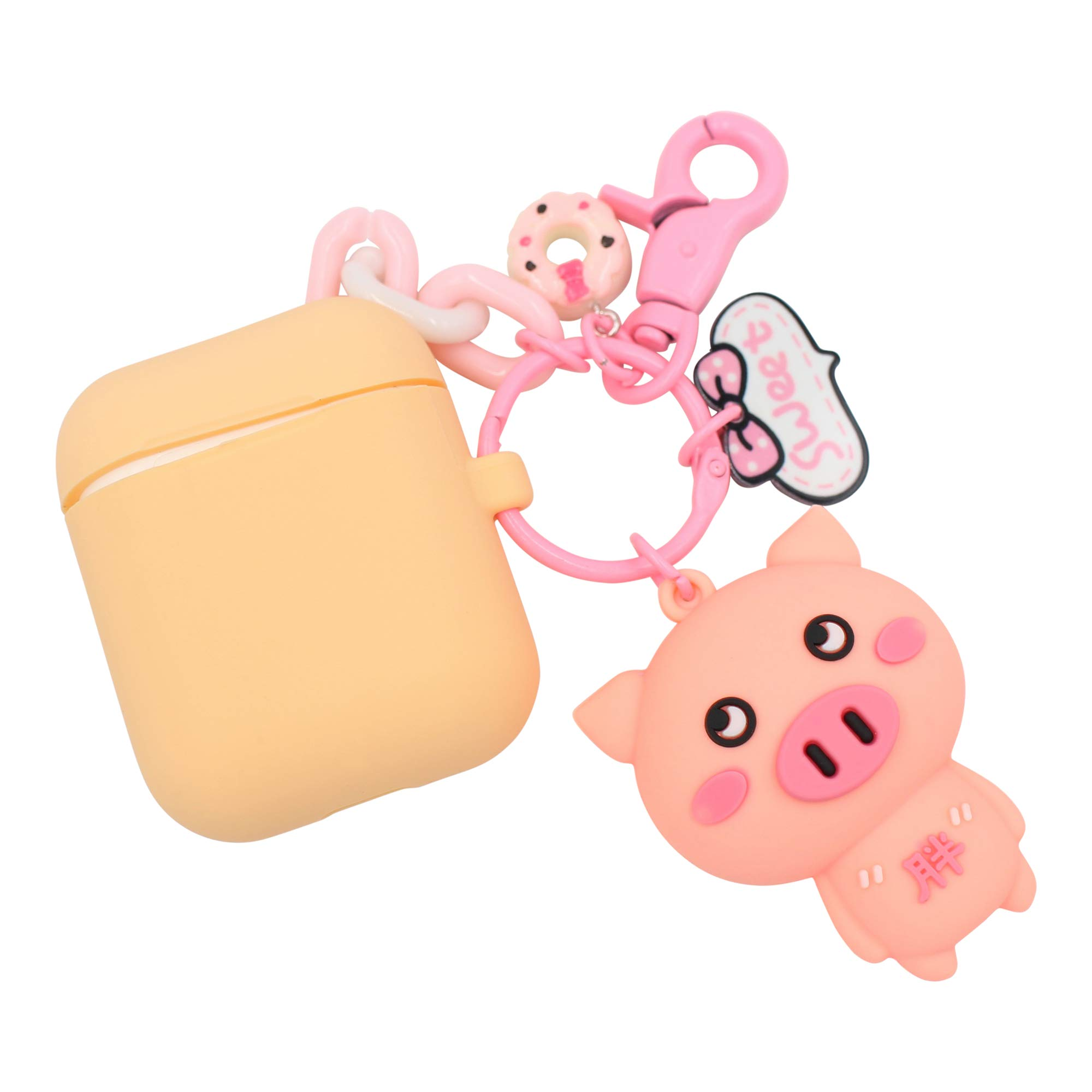 REAL SIC Premium Silicone AirPod Case Keychain with Carabiner - Compatible AirPods Keychain Protective Case - Colorful Key Fob Cover for Wireless Headphones (Peach Pig)