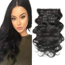 "Wavy Clip in Hair Extensions, Urbeauty Body Wave Remy Clip in Human Hair Extensions for Women Triple Weft 7Pcs(90g)/ Set (#1 Jet Black Color,16""X2Set)"