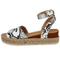 Women Platform Sandals Espadrille Open Toe Comfort Ankle Buckle Stray Flat Sandal for Women