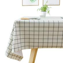 TruDelve Heavy Duty Vinyl Table Cloth for Kitchen Dining Table Wipeable PVC Tablecloth for Rectangle Table (54'' x 78', White Plaid)
