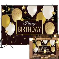 Allenjoy 7x5ft Happy Birthday Backdrop Black and Gold Balloons Photography Background for Adults Bday Decorations Sparkling Stars Golden Glitter Party Banner Photo Booth Props