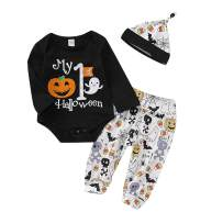 Infant Baby Boys Girls My First Halloween Outfit Set Pumpkin Romper Ghosts Pants and Hat Baby Halloween Clothes Set 3 PCS