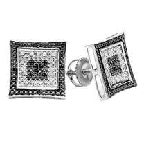 Dazzlingrock Collection 0.12 Carat (ctw) Round White and Black Diamond Kite Shape Stud Earrings