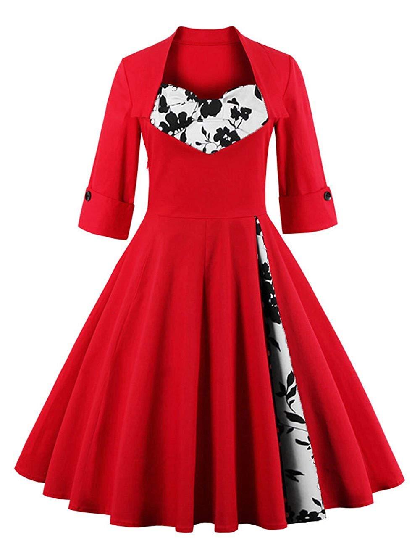 KILOLONE Women's 1950s Retro Vintage Rockabilly Dresses Plus Size Dress Christmas Party Pinup Swing Dresses
