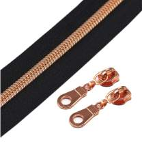 YaHoGa #5 Rose Gold Metallic Nylon Coil Zippers by The Yard Bulk Black Tape 10 Yards with 25pcs Sliders for DIY Sewing Tailor Craft Bag (Black)
