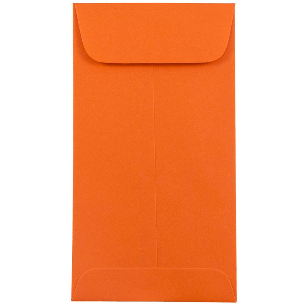 JAM PAPER #7 Coin Business Colored Envelopes - 3 1/2 x 6 1/2 - Orange Recycled - 25/Pack