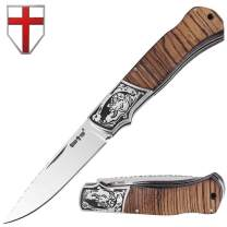 Grand Way Folding Knife - Decorative Pocket Knife for EDC and Outdoor - Classic Blade and Wooden Inlays on Handle FB 0017