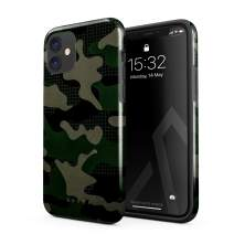 BURGA Phone Case Compatible with iPhone 11 - Jungle Military Green Camo Camouflage Cute Case for Girls Heavy Duty Shockproof Dual Layer Hard Shell + Silicone Protective Cover