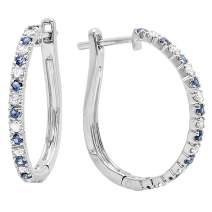 Dazzlingrock Collection 14K Gold Round Blue Sapphire & White Diamond Ladies Huggies Hoop Earrings