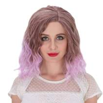 Alacos Fashion 35cm Short Curly Full Head Wig Heat Resistant Daily Dress Carnival Party Masquerade Anime Cosplay Wig +Wig Cap (Brown Ombre to Purple)