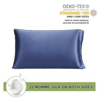 LilySilk 22mm Silk Pillowcase with Envelope Closure Both Sides Silk for Hair and Skin Ocean Blue 20x26 Inch