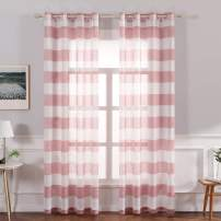 MIULEE Farmhouse Linen Striped Sheer Curtains with Grommet Long Window Textured Voile Drapes Semi Transparent Look for Bedroom Living Room Sliding Door W 54 x L 90 Inches Length Red