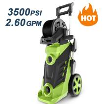 Homdox 3350PSI 2.50 GPM Power Washer Electric Pressure Washer 1800W Electric Power Washer with Power Hose Gun Turbo Wand 4 Interchangeable Nozzles