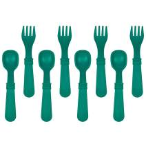 Re-Play Made in The USA 8 Count Spoon and Fork Utensil Set for Baby and Toddler - (Teal)