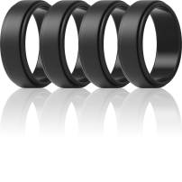 ThunderFit Silicone Wedding Rings for Men 7 Rings / 4 Rings / 1 Ring - Step Edge Sleek Design Rubber Engagement Bands - 8mm Width - 2mm Thickness