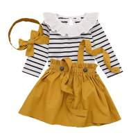 Seyouag Baby Girl Summer Outfits Ruffle Striped Romper and Overall Skirt Headband Winter Clothes Set