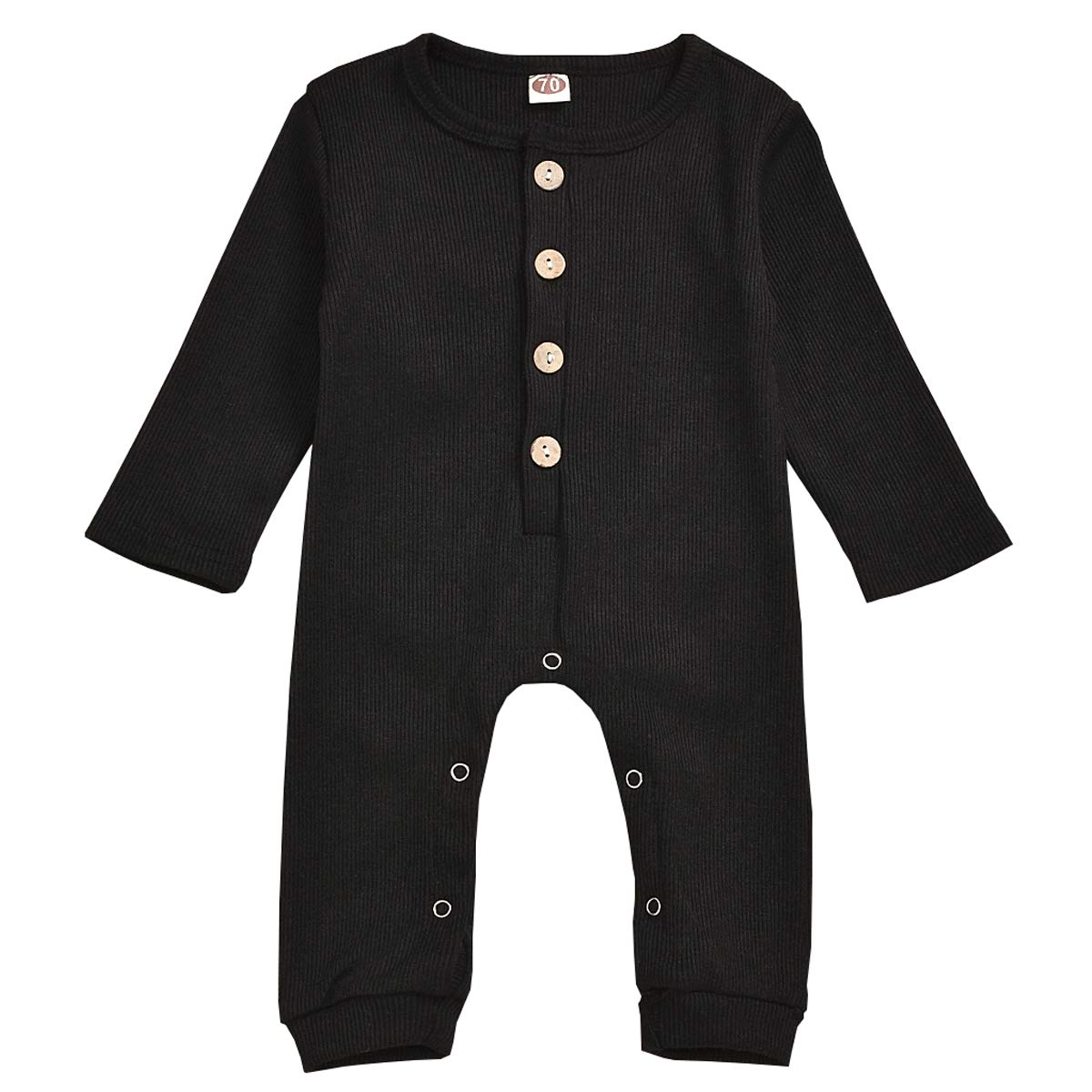 Kislio Newborn Unisex Baby Boys Girls Romper Solid Color Long Sleeve Jumpsuit Clothes