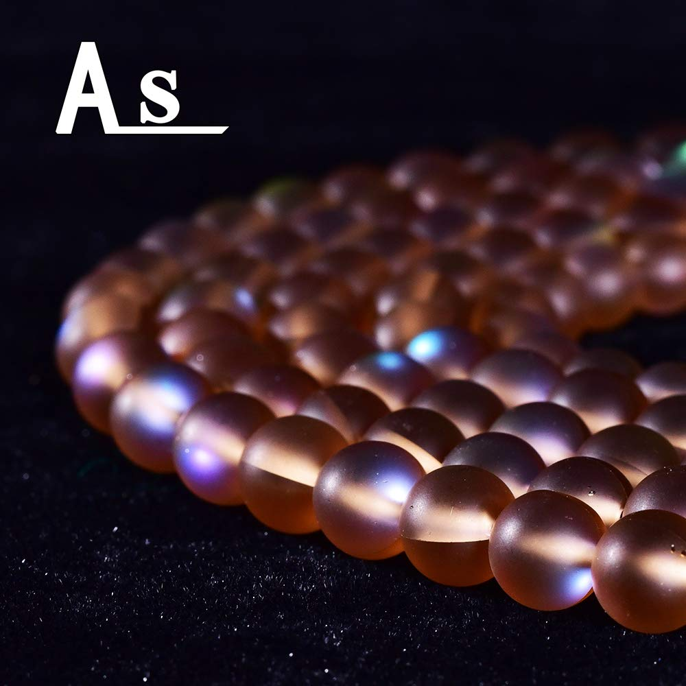 Asingeloo 60PCS 6mm Natural Coffee Mystic Aura Quartz Gemstone Frosted Matte Titanium Round Loose Spacer Beads 15 inch Full Strand Crystal Healing Power Quartz