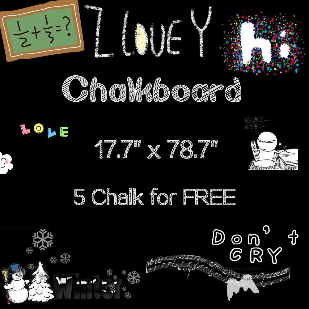 "Fymural Large Black Chalkboard Contact Paper Roll - 17.7"" x 78.7"" - 5 Chalks Included - Chalk Board Paint Alternative Wallpaper - Adhesive Blackboard Wall Decal Vinyl - Black Chalkboard Stickers"