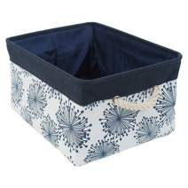 """uxcell Collapsible Storage Basket Bins with Handles,Fabric Storage Bins with Drawstring Closure for Clothes Towel Toys Organizer,(X-Large - 17.7"""" x 13.8"""" x 9.8""""),Blue Gypsophila"""