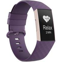 Recoppa Compatible with Fitbit Charge 3 Bands for Women Men, Waterproof Breathable Wristbands for Fitbit Charge 4 / Fitbit Charge 3 SE Fitness Activity Tracker (Large, 1Pack Purple)