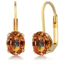 Gem Stone King 3.20 Ct Oval Shape Ecstasy Mystic Topaz Yellow Gold Plated Brass Dangle Earrings