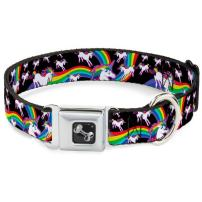 Buckle-Down Seatbelt Buckle Dog Collar - Unicorns/Rainbow Swirl Black