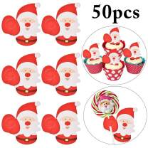 Christmas Lollipop Paper Card,Outgeek 50PCS Xmas Lollipop Candy Card Holder Paper Santa Claus Penguin Lollipop Chocolate Paper Card Xmas Cute Gift Package Party Birthday Wedding Decor (Santa)