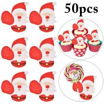 Christmas Lollipop Paper Card,Outgeek 50PCS Xmas Lollipop Candy Card Holder Paper Santa Claus Penguin Lollipop Chocolate Paper Card Xmas Cute Gift Package Party Birthday Wedding Decor (Santa)
