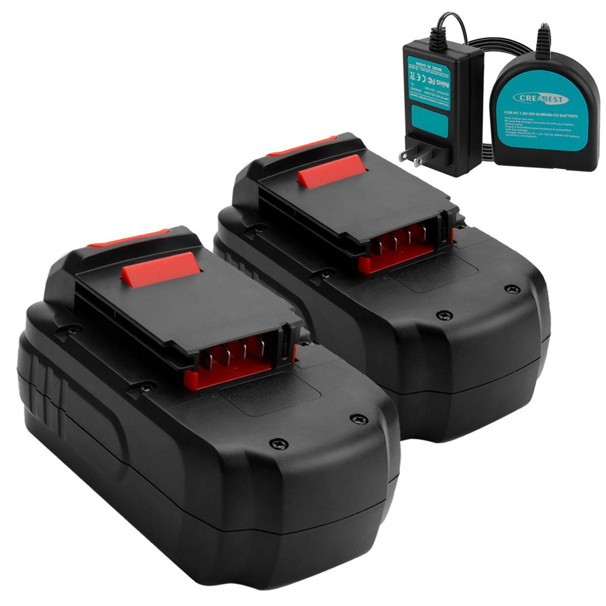 Creabest New 2Packs 3.5Ah Ni-MH for Porter Cable 18V Battery PC18B PC18B-2 PCC489N PCMVC PCXMVC PC18BLEX, Include One 1.2V-18V Ni-MH/Ni-CD Battery Charger