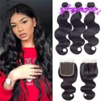 Brazilian Body Wave Bundles with Closure (20 22 24 +18 Three Part) 8A Brazilian Virgin Hair 3 Bundles with Closure 100% Unprocessed Human Hair Weave Bundles with Lace Closure Natural Black Color …