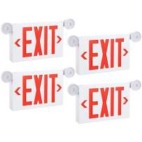 TORCHSTAR Red LED Exit Sign with Emergency Lights, Two Adjustable Head, Double Face, AC 120V/277V, Battery Backup, Top/Side/Back Mount Exit Light Combo, UL Listed for Commercial, Business, Pack of 4
