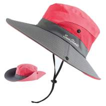 Peicees Women's Outdoor UV Protection Foldable Mesh Wide Brim Beach Fishing Hat