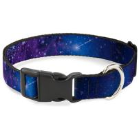 """Buckle-Down Plastic Clip Collar - Galaxy Blues/Purples - 1"""" Wide - Fits 15-26"""" Neck - Large"""