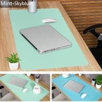 """Large Leather Desk Mouse Pad, Desk Pad Protecter 31.5"""" x 15.7"""" PU Leather Mouse Mat Non-Slip Comfortable Gaming Writing Mat Dual Use Office Desk Mat (Mint&SkyBlue)"""