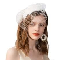 F FADVES Ladies Flower Veil Fascinators Cocktail Tea Party Banque Wedding Headwear