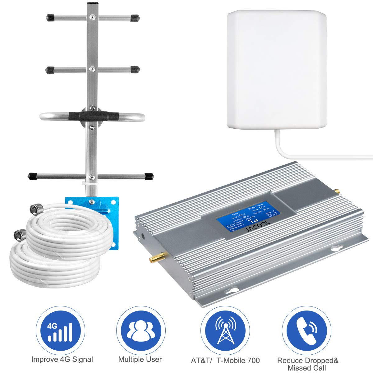 ATT Cell Phone Signal Booster 4G LTE Mobile Signal Booster Amplifier FDD AT&T T-Mobile Cell Signal Booster Repeater 700MHz Band 12/17 for Home - Coverage Upto 5,000 Sq Ft Panel Yagi Antennas