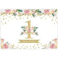Allenjoy 7x5ft 1st Birthday Backdrop Watercolor Floral Party Happy 1 Year Old Pink Flower Gold Glitter Dot for Girl Baby Shower Banner Favors Photography Background Photo Studio Booth Props Decoration