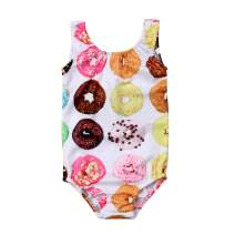 Lamuusaa Toddler Baby Kid Girls Doughnut Swimsuit Sleeveless One-Piece Swimwear Bathing Suit Bikini Tankini 1-6Y
