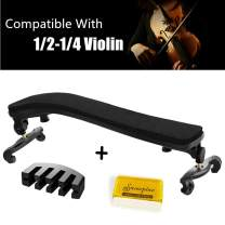 Violin Shoulder Rest for 1/4 and 1/2 Size, with Collapsible and Height Adjustable Feet and Comfortable Foam Pad, Including A Practice Mute and Violin Rosin