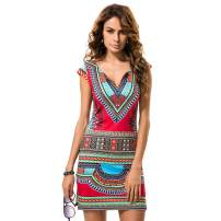 KUREAS African Dashiki Print Women Dress Short Sleeves Split Hem Boho Cocktail Party Dress Red