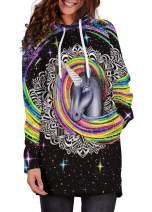 GLUDEAR Women's Novelty Galaxy 3D Printed Long Sleeve Sweatshirt Hoodie Dress