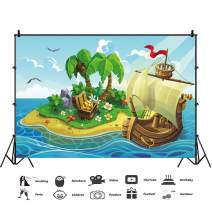 Baocicco 10x6.5f Cartoon Pirate Ship Tropical Island Treasures Box of Gold Backdrops Photography Backgrounds Children Baby Tea Party Happy Birthday Boys Room Wallpaper Photo Booth Studio Video Props