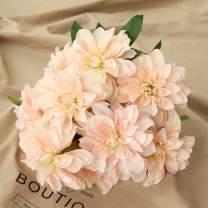 Homyu 10 Heads Dahlia Fake Flowers Artificial Dahlia Flowers Faux Flowers for Home Wedding Party Office Supplies (Light Champagne)