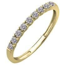 Dazzlingrock Collection 0.25 Carat (ctw) 14K Gold Round Lab Grown Diamond Ladies Wedding Band Enhancer Guard 1/4 CT