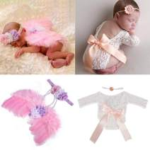 Newborn Photography Props Girls Outfits 4 Pcs, Infant Baby Angel Wings Pink+Lace Romper Long Sleeves Bowknot +2 Flower Newborn Headbands-Newborn Photo Outfits Photoshoot Prop Valentines Cupid Costumes
