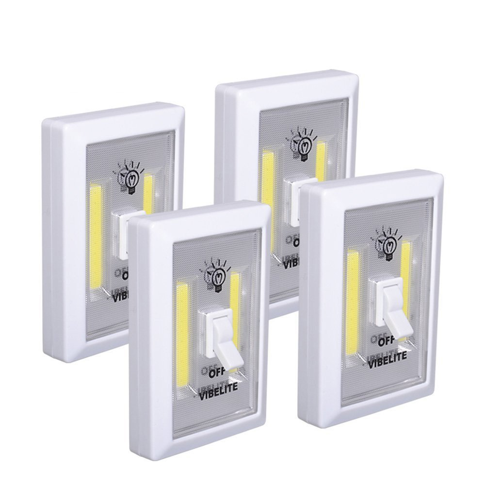 VIBELITE Closet Light, Battery Operated, Tap Light, Touch, Night, Utility, Wall Wireless Mount Under Cabinet, Shelf, Shed, Kitchen, Garage, Attic, RV, DIY(4-Pack)