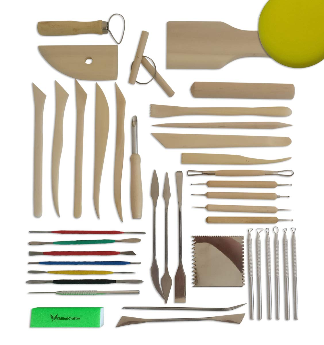 Skilled Crafter Pottery Tools Deluxe 40 Piece Set + Free Sponge & Needle Tool.The Smoothest Tools Made from Premium Ginkgo Wood, Stainless Steel & Aluminum for Creative Modeling Perfection!