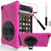 Gzerma Fire HD 8 Case 7th /8th Generation with Fire HD8 Screen Protector 2017 2018, 3in1 Shockproof Heavy Duty Cover with Hand Strap, Stylus Pen, Rotating Stand for All New Amazon Kindle Fire 8, Rose
